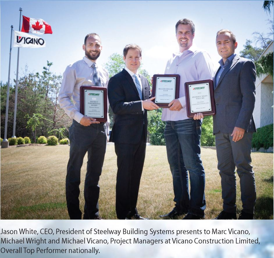 Vicano Construction awarded Overall Top Performer Nationally by Steelway Building Systems